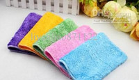 Wholesale 100 Double Thick High Efficient ANTI GREASY Bamboo Fiber Dish Cloth Magic Multi Function Cleaning Rags Cleaning Cloth Towel