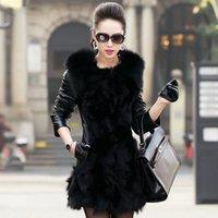 Wholesale 2015 Winter Medium length Imitation fox fur Fashion Female fur coat Leather Cotton Jacket Overcoat Parka Coat For Female Q1599