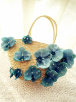 baling straw - Japanese flower butterfly orchid simulation straw bales beach female hand bag