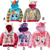 Wholesale 2015 Girls Outerwear My little Pony Sweater Hoodies Sportswear Children Cartoon Hooded Coat Kids Clothes Hoody Jacket Styles Factory Price