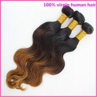 Cheap Free Shipping! 3 4pcs Virgin ombre brazilian body wave hair 6A Two tone #1b 4 30 Hot selling Ombre human hair weave Brazilian hair bundles
