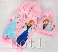 Wholesale DHL Girls christmas gifts girl pink frozen scarf hat set winter warm cap hat scarf kids Elsa Anna scarves