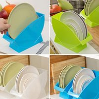 Wholesale 2015 Kitchen Plate Frame High Quality Food Grade PP Plastic Tableware Draining Racks Candy Color Plate Lid Disc Storage Rack
