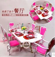 doll furniture - New Christmas gift play house toys for children furniture for doll Dinner Room Set for barbie doll accessories for barbie