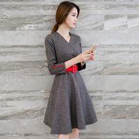 Cheap Tweed Dress Vestido De Festa 2016 Korean Kawaii Winter Dresses Tunique Femme Pin Up Vintage 50S 60S Clothing Vestidos