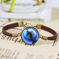 Charm Bracelets american universe - New hot Infinity Bracelet Charm universe planet Galaxy Glass dome bracelet Bronze Tone Alloy pendant brown leather bracelet