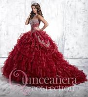 2015 Vinho Tinto Quinceanera Vestidos de bola Vestidos Querida Com o Crystal Beading Organza Lace Up Doce 16 Prom Debutante vestidos QS14