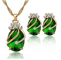 Wholesale 2015 Fashion Jewelry Set K Gold Plated Waterdrop Gemstone Rhinestone Necklace Earring Sets for Women s Cubic Zirconia Jewelry JS180085