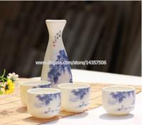 Wholesale Japanese Porcelain Sake Set Blue and White Porcelain Sake Bottle and Cup Gift Wine Set Chinese Landscape Painting Design