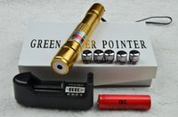 Cheap Gold plated 20000mw 20w 532nm green laser pointers adjustable focus burn match with 5 laser heads+charger+free shipping