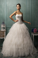 bella wedding dress - Lovely Pleated Bodice Bella Strapless AmeliaSposa Collection Ball Gown Wedding Dresses Luxury Fluffy Tulle Wedding Dress Bridal Gowns
