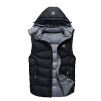 Wholesale Fall Brand Men s Cotton wadded Down Vest Coat Mens Waistcoat High Quality Winter Sports Outdoor Casual Sleeveless hooded Jacket