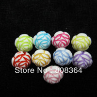 Wholesale Random Mixed Acrylic Spacer Rose Flower Round Beads mm Dia W02495 X