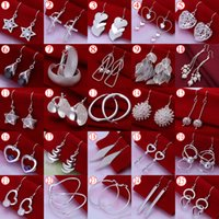 women earrings lot - Beautiful Christmas gift High Quality Fashion Silver Earrings For Women Mix Styles Charms Drop Earrings pairs