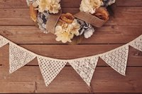 Wholesale Hollow Flags Bunting White Banners Personality Wedding Party lace Fabric Garland Vintage Room Decoration
