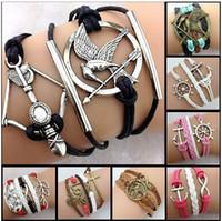 leather charm bracelet - 2015 New fashion leather infinity love anchor rudder lover hearts charm bracelets friendship bracelets for women and men jewelry