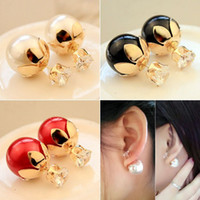 Wholesale 2015 New Pearl Style Earrings Fashion Atmosphere Popular Pearl Double faced Back Phone Earrings