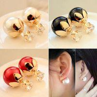 clip on earrings - 2015 New Pearl Style Earrings Fashion Atmosphere Popular Pearl Double faced Back Phone Earrings