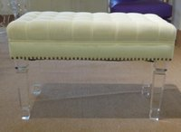 Wholesale Ottomans in clear acrylic legs White fabric ottomans Small bench with top clear acrylic feet Linen fabric bench and stool