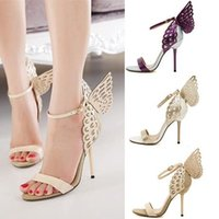Pumps balls dress sandal - New butterfly sandals bridal dance shoes ball prom gown shoes women high heels wedding shoes colors size to