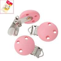 Wholesale 10PCs Baby Pacifier Clips Holder Wooden Round Pink cm x2 cm quot x1 quot Funny Pacifier