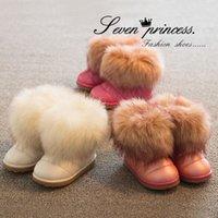 Wholesale child shoe kids shoes girls winter snow boots with fur rain children waterproof warm pink new year white