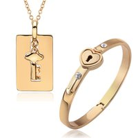 Wholesale Fashion Jewelry Set K gold plated key heart lock necklace bangles perfect wedding gift for woman