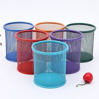 Wholesale High quality color Mesh Hollow Pen Pencil Pot Holder Container Organizer Metel Round Pen Holders Office School Supplies