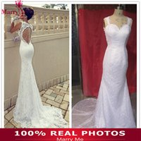 Cheap Trumpet/Mermaid backless wedding dresses Best Reference Images Spaghetti White wedding dress