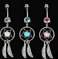 Wholesale Body Jewelry Crystal Gem Dream Catcher Navel Dangle Belly Barbell Button Bar Ring Body piercing Art order lt no tracking