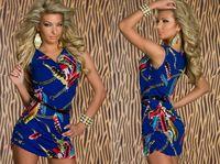 designer one piece dress - Fashion print sexy sleeveless short dress New Designer one piece Dress Y123