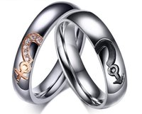 Bohemian asian symbols - silver girls and boys symbol couple rings stainless steel lovers rings