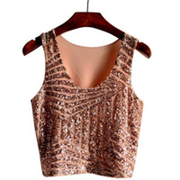 Wholesale FG1509 Sexy Crop Tops New Hot Summer Style Women Ladies Casual Sleeveless O Neck Fashionable Gauze Sequined Slim Tank Tops Blusas