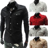 Wholesale Fashion Epaulette Double Pockets Mens Shirts Men s dress Shirts Stylish long sleeved Shirts M XXL Man Dress Coats Camisas Slim Casual