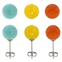 blue jade earrings - Set Of mm Jade Earring Studs Sterling Silver Light Blue Yellow Orange