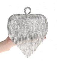 Wholesale 2015 Newest Tassel Rhinestone Finger Ring Evening Bags Diamonds Wedding Handbags Women Day Clutch Mini Purse Bag With Chain