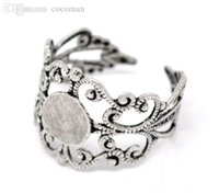 Cheap Wholesale-Free shipping 20pcs Silver Tone Adjustable Filigree Cabochon Ring Base Blank Settings US8 Jewelry Findings