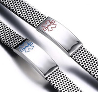 medical id - Custom Engraved Medic Alert ID Bracelet Personalized Men s Stainless Steel Medical Alert ID Bracelet with Mesh Band