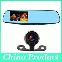 Car DVR Video Recorder Cámara de visión trasera 4.3 pulgadas 1080P lente dual dos cámaras Azul Espejo Full HD 120 Ángulo 010226