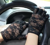Cheap Wholesale-2015 New Arrival Goth Party Sexy Dressy Women Lady Lace Gloves Mittens For Wedding Bridal Accessories Fingerless For Wedding Car