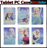 Wholesale Universal Cute Cartoon Folding quot quot quot Frozen Elsa Anna Olaf Design PU Leather Flip Tablet pc Case Holder Stand Folio tablet PC Cover