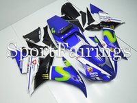 al por mayor plásticos yamaha r1-Carenados completos para Yamaha YZF R1 02 03 YZF-R1 2002 2003 Kit de carenado plástico de la motocicleta del ABS Cowling Movistar Monster Vale