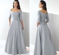 Wholesale Vogue Scoop Mother of the Bride Dresses A Line Taffeta Draped Backless Sweep Train Party Gown