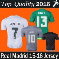 quality white shirts - 2015 top quality Real Madrid home green gray soccer Jerseys James Ronaldo Isco bale RAMOS Real Madrid shirt Jersey