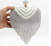 beaded wristlet - Newest tassel crystal women bag luxury imitation pearl evening bags wedding beaded day clutches small purse bag