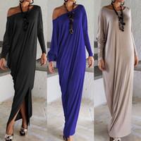 Wholesale Women Lady Elegant Casual Loose Fashion Long Sleeve Boho Pure Color Blue Grey Black O Neck Beach Long Maxi Dress