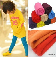 Wholesale New Spring Winter Kids Warm Candy Colors Legging Pants inside Plus Velvet Baby Boy and Girl Thicken Elastic Leggings