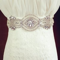 Wholesale Best Selling Crystals Beaded White Ivory Long Satin Wedding Dress Belts Wedding Accessories Hand Made Bridal Sashes Belt For Bride