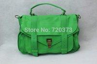 achat en gros de sac ps1-Livraison gratuite! Animé et agréable couleur verte cuir véritable PS1 Cartables taille moyenne des femmes: 32 x 24 x 10cm