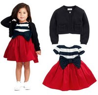 Cheap 2014 Baby Girls Clothing cotton dress + long sleeve coat baby girls christmas dress brand cothes